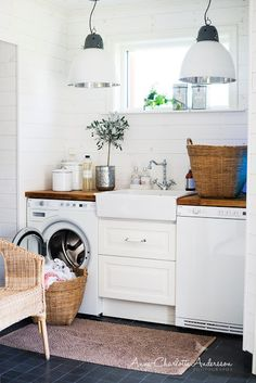 laundry room ideas: wooden counter top, white plank walls, farmhouse sink between washer & dryer Laundry Room Organization, Laundry Room Design, Laundry In Bathroom, Household Organization, Basement Laundry, Laundry Area, Laundry Closet, Small Laundry Rooms, Organization Ideas