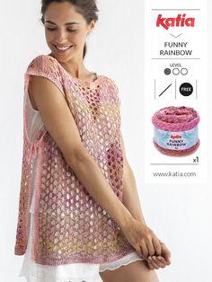 Patrones de ganchillo gratis: ponchos, chales, tops, pareos, bikinis... Blouse Au Crochet, Crochet Poncho Patterns, Crochet Patterns For Beginners, Crochet Lace, Crochet Needles, Free Clothes, Knitting, Yohji Yamamoto, Holidays