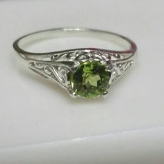 Peridot Ring, Filigree Antique Style Ring, Sterling Silver Ring, AAA Gem, August Birthstone, Engagement Ring, Sz 6 by Maggie McMane Designs