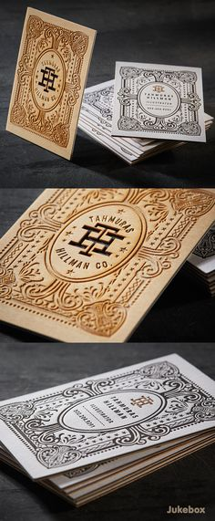 Create one of a kind business cards starting with the right combination of interesting materials, like these amazing Wood and Cotton 3ply business cards. Make a strong impression by using a variety of premium print services such as laser etching, laser cutting, foiling and letterpress backing. Produced by Jukebox Print.