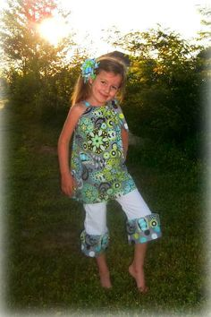 Blue, Green and Multicolor Floral Pillowcase Top and Ruffle Capris Set / Pageant Casual Wear / Photo Prop. $40.00, via Etsy.