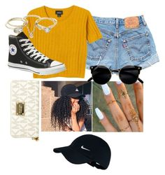 """# baseball"" by couture-channel ❤ liked on Polyvore featuring NIKE, Levi's, Monki, Converse, xO Design, MICHAEL Michael Kors, Lipsy, baseballcap and baseballhats"