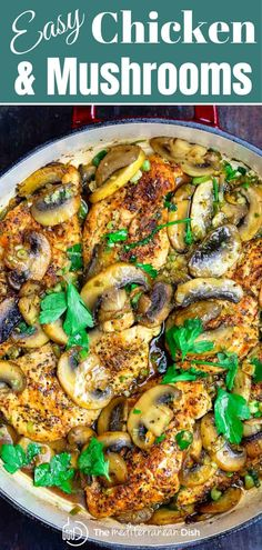 No dry or boring chicken here! This skillet chicken and mushroom recipe with a light garlic sauce is delicous and perfectly tender. Ready in about 20 mins! Mushroom Sauce For Chicken, Skillet Chicken, Chicken With Mushrooms, Mediterranean Diet Recipes, Mediterranean Dishes, Easy Chicken Recipes, Easy Healthy Recipes, Healthy Recipes With Mushrooms, Recipe Chicken