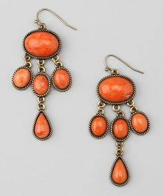 This Gold & Orange Oval Bead Chandelier Drop Earrings by ZAD is perfect! #zulilyfinds