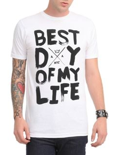 "White T-shirt from American Authors with a large ""Best Day Of My Life"" inspired text design."