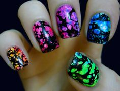 Out of this World Astral Rainbow Nail Art Design. For more nail art ideas visit www.nailartbank.com
