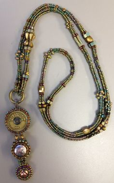Badge holder lanyard by Ruth Buffington. Seed Bead Necklace, Seed Bead Jewelry, Herringbone Necklace, Candy Jewelry, Beaded Lanyards, Bohemian Jewellery, Beaded Jewelry Designs, Bead Weaving, Beaded Embroidery