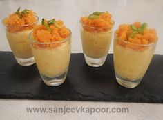 Gajar Halwa Mousse Recipe - A fusion dessert – gajar halwa mixed with whipped cream. Indian Desserts, Indian Sweets, Indian Snacks, Indian Dishes, Indian Food Recipes, Vegetarian Recipes, Pakistani Dishes, Cream Recipes, My Recipes