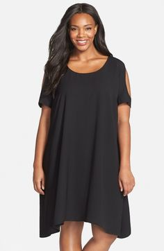 Free shipping and returns on Gabby Skye Knit Cold Shoulder Trapeze Dress (Plus Size) at Nordstrom.com. Undulating jacquard patterning creates subtle texture for a swingy trapeze dress crowned with shoulder cutouts for of-the-moment appeal.