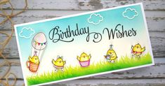 Hello Everyone,   I have a cute card to share with you all today.   I recently bought a Birthday Chickie stamp by Your next stamp. It has ... I Spy, Brush Pen, My Stamp, Cute Cards, Hello Everyone, Birthday Wishes, Stencils, Finding Yourself, Create