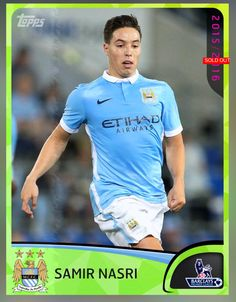 Samir Nasri Manchester City (Barclays Premier League) 2016 Preview Insert Card 2016 Topps KICK