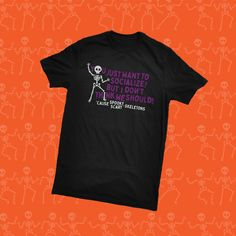 Forever misunderstood, poor Spooky, Scary Skeletons! #spookyscaryskeletons #halloweenathome Spooky Scary, Skeletons, Branded T Shirts, Halloween, Mens Tops, Halloween Stuff, Skulls, Skeleton