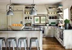Jimmy Stanton  Atlanta Homes Mag    Ivory shaker kitchen cabinets & kitchen island, Cambria quartz counter tops, industrial stools & pendant...