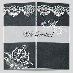 Absolut trendig laden Sie Ihre Hochzeitsgäste mit der fantastischen Schieferoptik-Hochzeitskarte ein. Die Spitzenbordüre verleiht Eleganz und den nötigen Feinschliff. Designer, Blog, Vintage, Cards, Chalkboard Background, Card Wedding, Getting Married, Black Man, Lace
