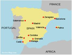 Map Of Spain With Regions And Major Cities Spanish Learning - Portugal map major cities