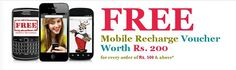 FREE Mobile Recharge Voucher Worth Rs. 200 for every order of Rs. 500 & above - Online shopping discount India, Daily Deals, Discount Coupons, Offers, Free Classifieds Ads, Local Classifieds Advertisement | classifiedDeal com