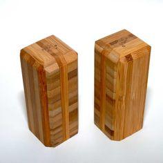 Sustainable Bamboo Salt and Pepper Shaker via Etsy