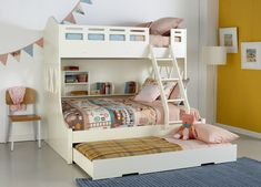 Kids white Snow Bunk bed with trundle and built in shelving, pastel coloured patterned linen and décor. Available at Forty Winks. White Bunk Beds, Double Bunk Beds, Bunk Bed With Trundle, Modern Bunk Beds, Cool Bunk Beds, Kids Bunk Beds, Triple Bunk, Stuva Loft Bed, Single Bunk Bed