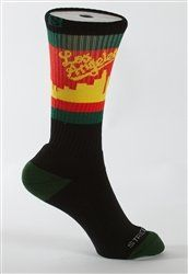 Strideline LOS ANGELES Black Rasta Athletic Crew Socks, One Size by Strideline. $12.95. Cotton 25%, Nylon 55%, Polyester 15%, Spandex 5%. Select Terry technology coupled with a sweat wicking cotton/poly blend will have your feet dry and secure. One size fits most. From the Manufacturer                Stride line Strapped Fit Socks are built for performance. Select Terry technology coupled with a sweat wicking cotton/poly blend will have your feet dry and secure.       ...