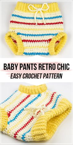 All Crochet Pattern Crochet Baby Pants Retro Chic pattern - easy crochet baby-pants pattern for begi Baby Girl Dress Patterns, Baby Clothes Patterns, Baby Patterns, Baby Dress, Frock Patterns, Mccalls Patterns, Sewing Patterns, Crochet Baby Costumes, Crochet Baby Pants