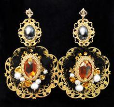 Dolce and Gabbana Set Baroque Necklace Earrings Swarovski Hematite 24K Gold   eBay