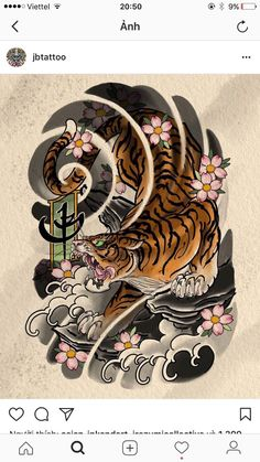 New Tattoo Sleeve Tiger Japanese Art Ideas Japanese Tiger Tattoo, Japanese Tattoo Designs, Japanese Sleeve Tattoos, Japanese Tattoo Women, Tattoo Japanese Style, Irezumi Tattoos, Dream Tattoos, Body Art Tattoos, Symbol Tattoos