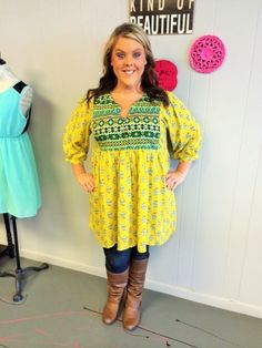 Yellow Printed Baby Doll Tunic - #blondellamydean #plussizefashion #plussize #curves