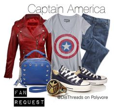 """""""Captain America Marvelbound by DisThreads"""" by disthreads ❤ liked on Polyvore featuring NYDJ, Converse and Ash"""