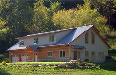 Residential Metal Building Home w/ Timber Wainscot (HQ Pictures) | Metal Building Homes