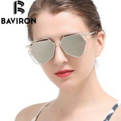 BAVIRON Hollow Peltate Sunglasses Women Mirror Alloy Aviator Glasses Art Deco Europe Punk Classic Retro Cool Gafas De Sol 8015