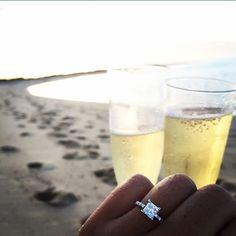 14K White Gold Thin French-Cut Pave Set Diamond Engagement Ring