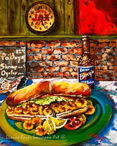 Po'Boy Time - Fried Shrimp PoBoy, Barq's Rootbeer, Zapps Chips with a Jax Beer Clock, New Orleans Art, Louisiana Art by New Orleans Artist
