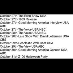 Here's the tv schedule for this week! Not on here, but also important: gonna be on MTV all day in between shows talking about 1989 with Jack Antonoff, and later this evening, there's a huge radio takeover called The I Heart Radio Ultimate Secret Session that you can watch online and listen to on the radio.