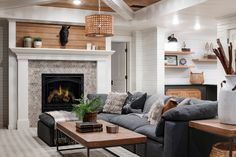 We love the basement living room decor and design at our Homestead Farm renovation! Home Fireplace, Fireplace Remodel, Fireplaces, Basement Living Rooms, Living Room Decor, Homestead Farm, Family Room Design, Modern Farmhouse Kitchens, Living Room Designs