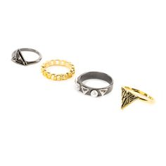 Katy Perry Gold and Hematite PRISM Multi Ring Set of 4 | Claire's
