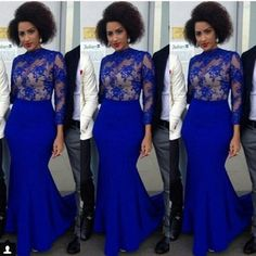 Elegant Royal Blue Evening Dresses 2016 aso ebi style Mermaid High Neck Long Sleeve Pleats Sweep Train Lace Applique Formal Prom Gowns
