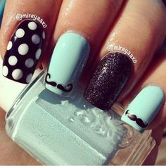 Mustache Nails! #dotnails #mustache #nailart  Share your nail art on Bellashoot.com