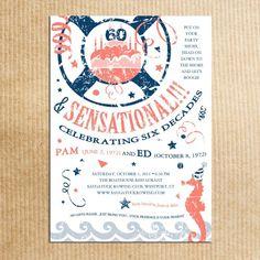 Nautical Birthday Invitations - Beach Theme - Adult Party Vintage | RazzleDazzleDesign - Cards on ArtFire