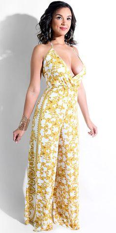 59f5a37e0 Compre Macacão Longo Estampado Pantalona Frente Única - 2 cores    UFashionShop Macacão Feminino Longo,