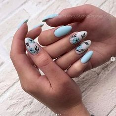 Beautiful floral nail art - summer nails makeup в 2019 г. Short Nail Designs, Nail Art Designs, Nails Design, Blue Nails With Design, Light Blue Nail Designs, Spring Nails, Summer Nails, Nail Manicure, My Nails