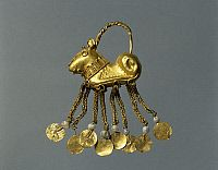 ARCHAEOLOGY.   Gold and pearl earrings, from the Vinnica Region, Ukraine. Sarmatic Civilization, 4th-2nd Century BC.
