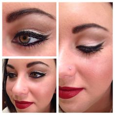 Merle Norman cat eye and red lip look