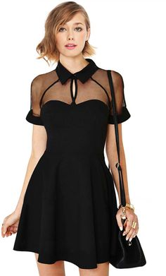 ROMWE Mesh Peak Collar Little Black Skater Dress