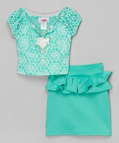 Mint Floral Top Set - Toddler & Girls