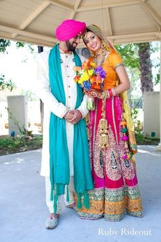 Happy Sikh Couple in Bright Colors