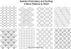 Eight FREE Sashiko Patterns to Stitch - Set 2