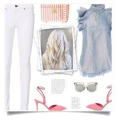 """Street Style: White Jeans by Rag & Bone"" by fashionmonkey1 ❤ liked on Polyvore featuring Marques'Almeida, rag & bone, Chanel, Giuseppe Zanotti and Linda Farrow"