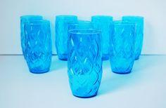 Vintage 1960's Anchor Hocking Blue Madrid Glasses, Set of 8 Glassware