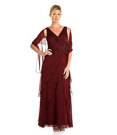 Ignite Evenings Ruched Asymmetric-Tiered Gown with Wrap | Dillard's Mobile