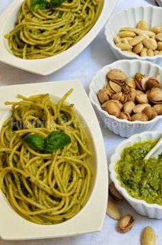 Pasta al pesto di pistacchi e mandorle